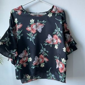Another Story Black Floral Blouse Top XL